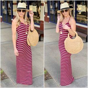 ✨RESTOCKED✨Burgundy striped racer back maxi dress